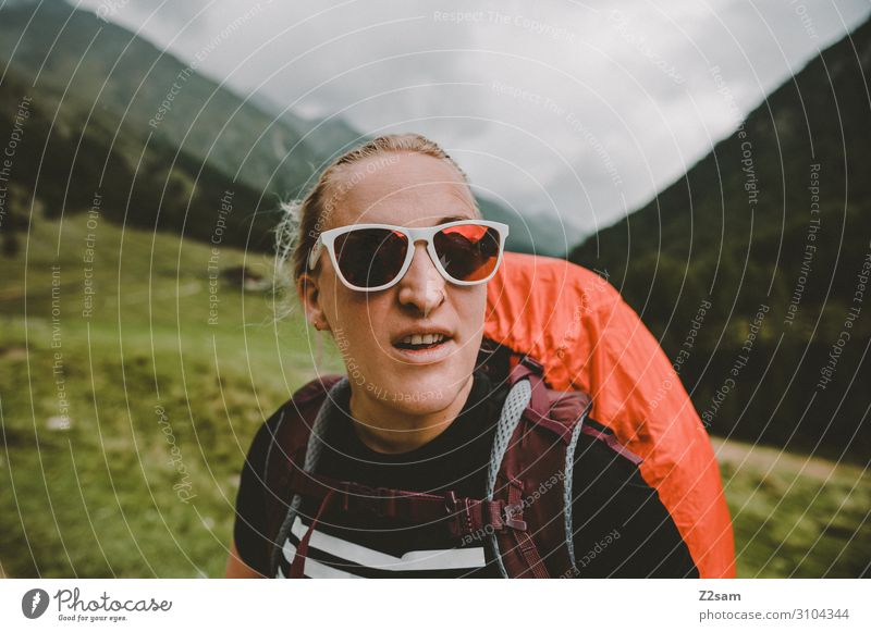 Hiking at the Eisjöchl in South Tyrol Climbing Mountaineering Feminine Young woman Youth (Young adults) Nature Landscape Clouds Bad weather Forest Alps