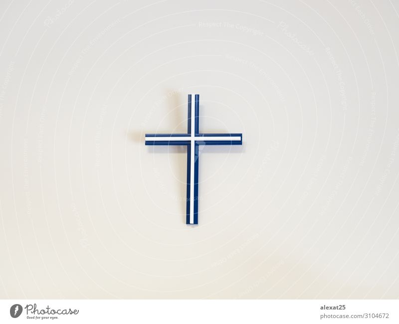 Blue and white catholic cross on a wall Easter Plastic Hope Death Belief Religion and faith background Catholicism christ Christianity Conceptual design copy