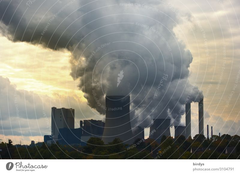 Climate killer, lignite-fired power plant in NRW Coal power station co2 Clouds Climate change Energy industry Bad weather Tree Industrial plant cooling tower