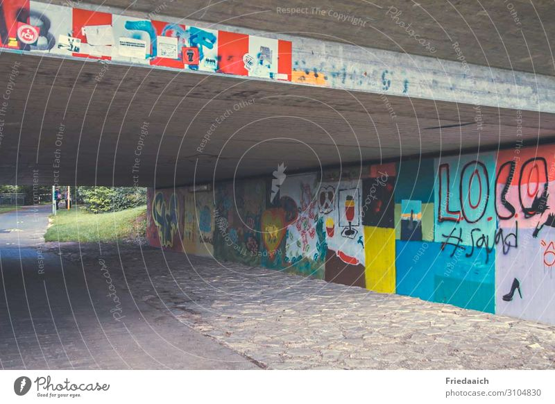 Colour under the bridge Leisure and hobbies Art Painter Work of art Bridge Tunnel Architecture Wall (barrier) Wall (building) Traffic infrastructure Cycling