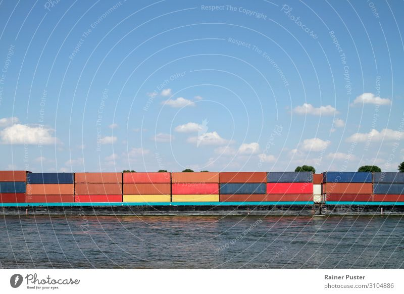 Container ship on the Rhine Industry Logistics Sky River Germany Navigation Driving Blue Red Colour photo Exterior shot Copy Space top Copy Space bottom Day