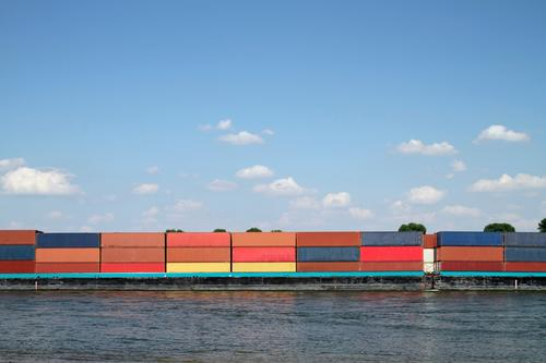 Sky Blue Red Germany Industry River Logistics Driving Navigation Container Container ship