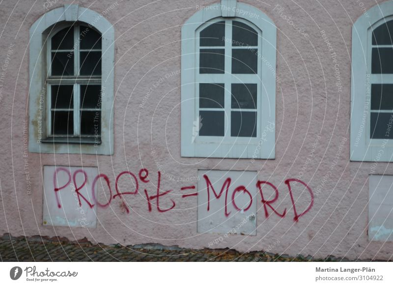 Anti-capitalism lives on House (Residential Structure) Wall (barrier) Wall (building) Facade Aggression Pink Avaricious Inequity Anger Colour photo