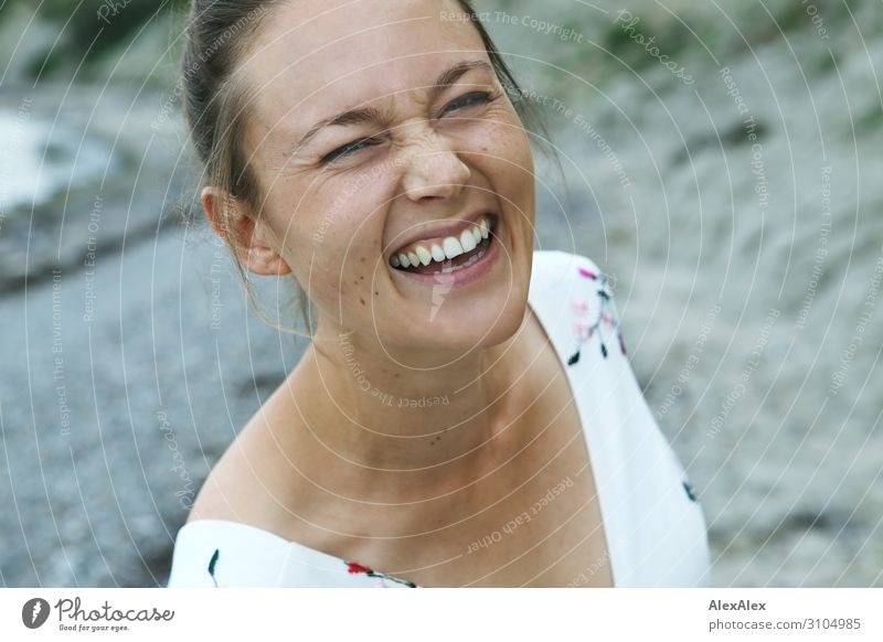 Portrait of a laughing young woman Beautiful Life Summer vacation Young woman Youth (Young adults) Face 18 - 30 years Adults Beautiful weather Dress Brunette