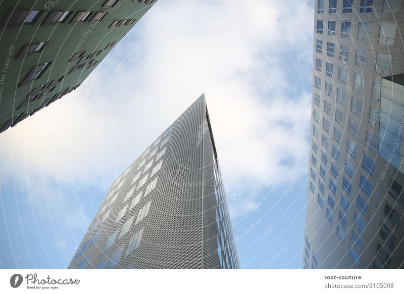 Sky Town Clouds Architecture Wall (building) Business Building Wall (barrier) Facade Office High-rise Success Construction site Skyline Manmade structures
