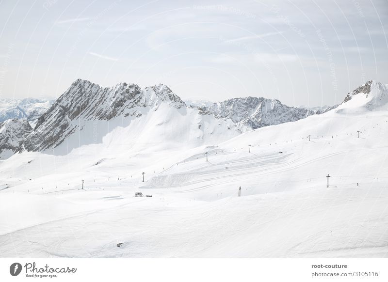Ski area with snow-covered mountains in the background Vacation & Travel Winter Snow Winter vacation Mountain Christmas & Advent Sports Skiing Skis Snowboard