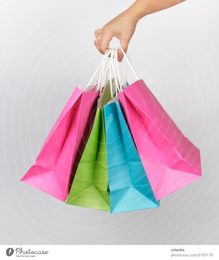 colored paper shopping packaging bags Woman Colour Green White Hand Lifestyle Adults Style Business Fashion Pink Design Modern Creativity Gift Shopping