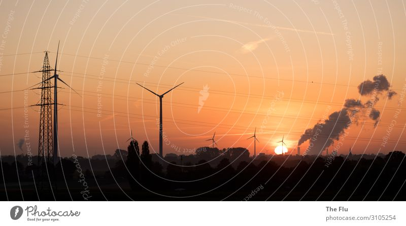 Sky Landscape Sun Clouds Environment Orange Energy industry Technology Beautiful weather Industry Climate Cloudless sky Wind energy plant Economy Steel