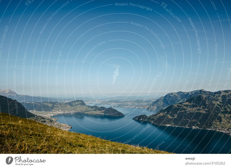 View of Lake Lucerne from Niederbauen Environment Nature Landscape Sky Cloudless sky Summer Beautiful weather Natural Blue Tourism Canton Luzern build down