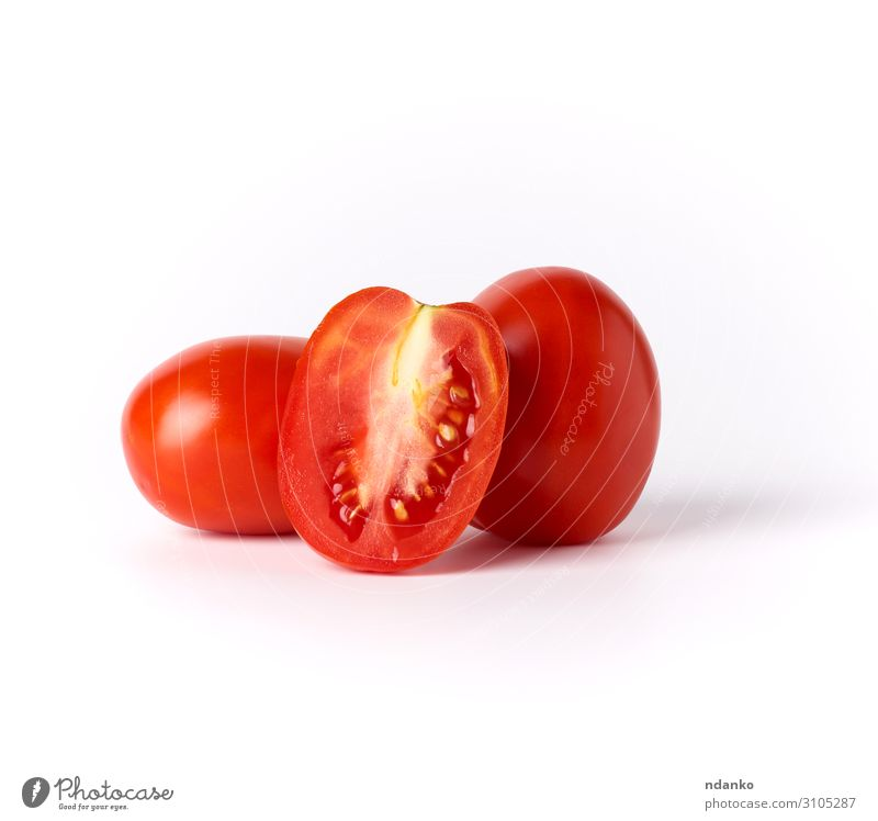 ripe red whole tomatoes and pieces Vegetable Fruit Nutrition Vegetarian diet Diet Nature Plant Fresh Long Natural Juicy Red White isolated Cut food Half Harvest