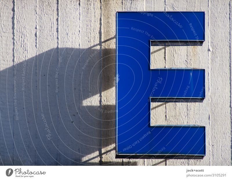 Letter E Lightbox Concrete Plastic Stripe Hang Sharp-edged Warmth Blue Authentic Esthetic Quality Shadow play Typography Outstanding Visual spectacle Part