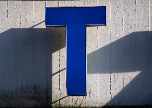 Letter T Lightbox Concrete Plastic Hang Blue Authentic Quality Style Shadow play Typography Outstanding Visual spectacle Part Capital letter Detail Abstract