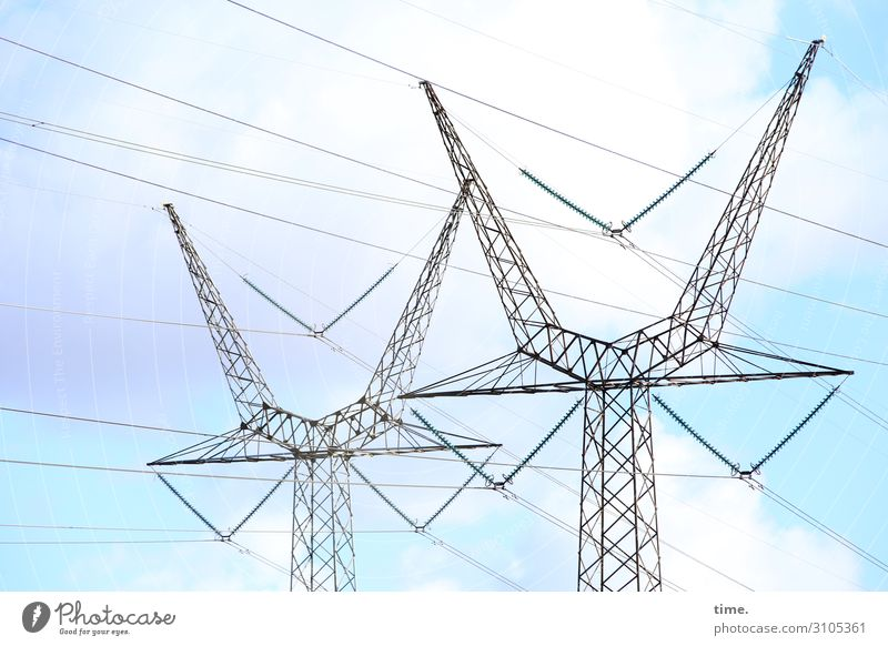 Seilschaften (V) Technology Energy industry Electricity pylon Transmission lines High voltage power line Sky Clouds Beautiful weather Line Together Endurance