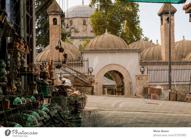 """An Ottoman Era building complex and street with souvenirs. Tourism City trip Architecture Culture """"Elmali Antalya"""" Turkey Asia Town Building Mosque Door Roof"""