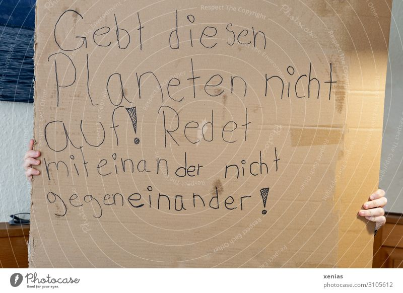 To talk Environment Earth Fingers Write Fear of the future Cardboard Climate change Communication Demonstration