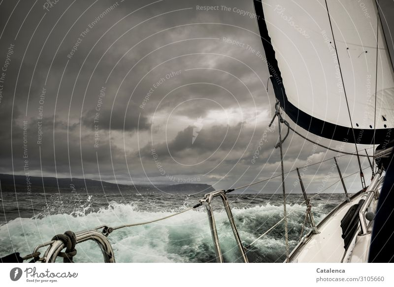 stormy Leisure and hobbies Trip Freedom Ocean Waves Aquatics Sailing Environment Nature Elements Water Drops of water Sky Storm clouds Bad weather Rain Coast