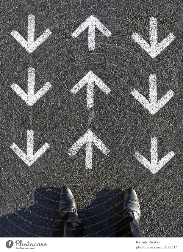 A man looks down on three rows of arrows, one row of which points forward and the other two point against him. Work and employment Financial institution