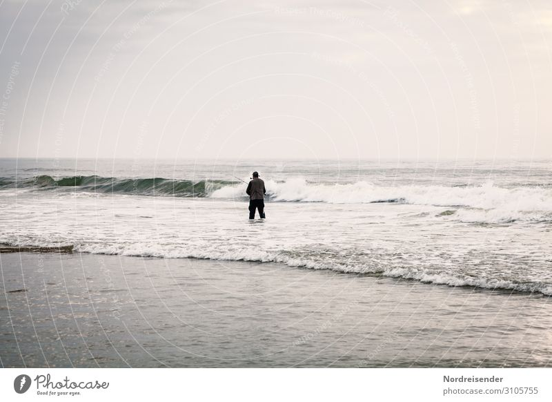 The angler in the surf Leisure and hobbies Fishing (Angle) Ocean Human being Masculine Man Adults Nature Landscape Water Sky Clouds Waves Coast Beach North Sea