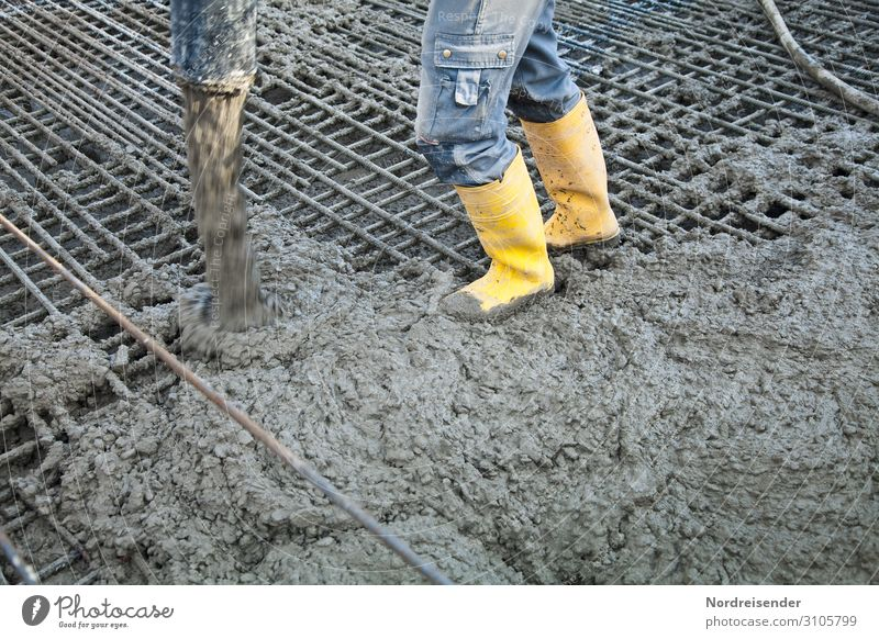 Concreting with concrete pump Work and employment Profession Workplace Construction site Economy Industry Tool Machinery Human being Man Adults Legs