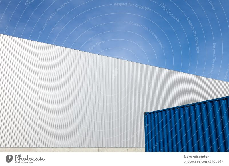 Sky Blue White Architecture Wall (building) Building Wall (barrier) Facade Work and employment Design Metal Modern Perspective Beautiful weather Industry