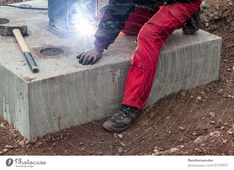 Welding work and civil engineering on a large construction site Work and employment Profession Craftsperson Workplace Construction site Economy Industry