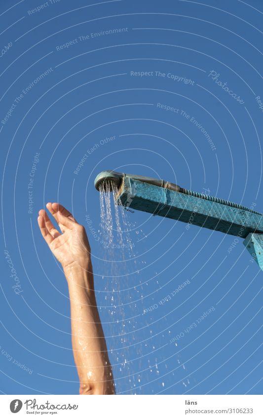Human being Vacation & Travel Sun Beach Life Tourism Arm Personal hygiene Take a shower Beach shower