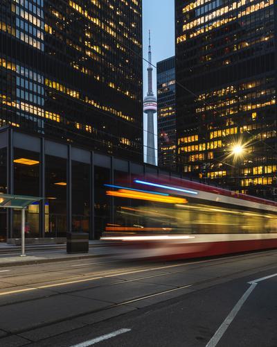 Downtown Toronto Vacation & Travel Tourism Town High-rise Building Architecture Landmark Transport Public transit Tram Movement blur Canada city lights