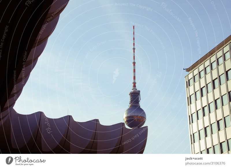 Put a quiet bullet in it. GDR Cloudless sky Downtown Berlin Capital city Tower Office building Facade Tourist Attraction Landmark Berlin TV Tower great Above