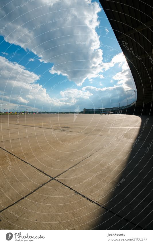Free & Fly Architecture Sky Clouds Beautiful weather Airport Berlin-Tempelhof Airfield Concrete slab Exceptional Fantastic Far-off places Gigantic Long Original