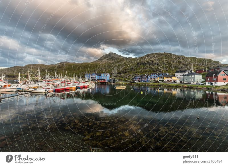 fishing village Vacation & Travel Tourism Trip Adventure Far-off places Freedom Expedition Nature Landscape Water Sky Clouds Sunlight Rock Mountain Coast Fjord