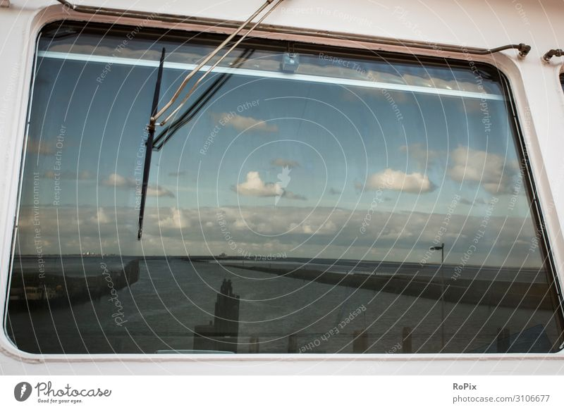 Reflection of the North Sea in the window of a ferry. boat ship Coast Ocean sea ocean Tide tides Summer Scotland coast mare steep coast Rock Fishing boat