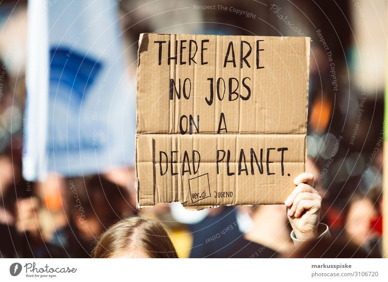 There are no jobs on a dead plante Child University & College student Disaster Peace Global Climate Mobilisation Global Climate Strike activist appeal