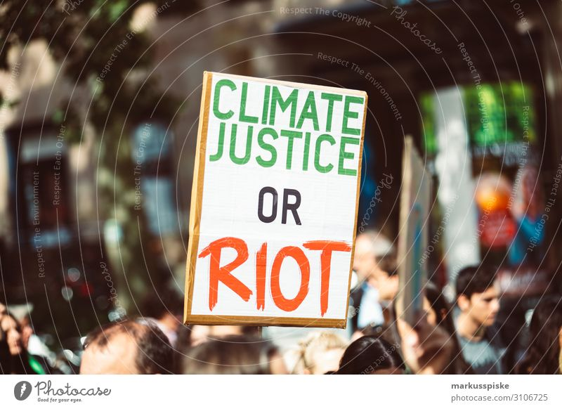 Climate justice or riot Child University & College student Disaster Peace Global Climate Mobilisation Global Climate Strike activist appeal atmosphere