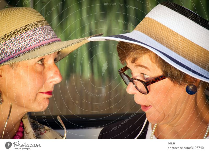 What? That's where you got your hat? Human being Feminine Woman Adults Brothers and sisters Sister Family & Relations Friendship Head To talk Hat Straw hat
