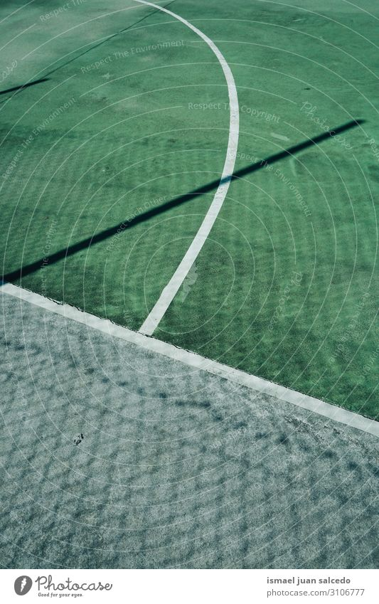 green soccer field with white lines in the stadium Soccer Playing field Empty Soccer Goal Court building Stadium Sports Line Mark Green Grass Ground White