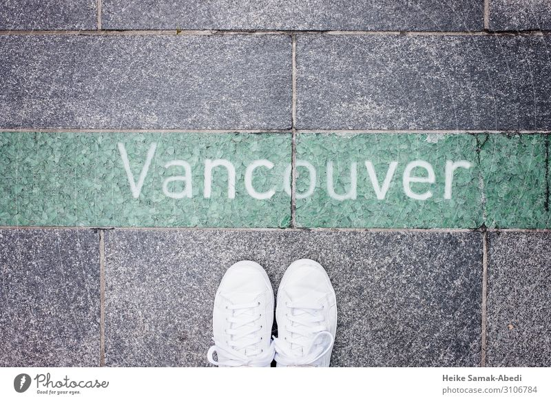 View of Vancouver Vacation & Travel Tourism Feet Canada Lanes & trails Footwear Sneakers Stone Concrete Characters Signs and labeling Gray Green White
