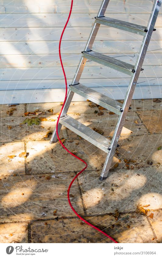 roof works Construction site Cable Ladder Deserted Facade Terrace Tile Authentic Dirty Red Above Under Work and employment Metal Level Colour photo