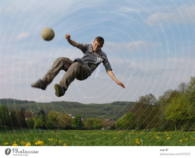 Faling Down Withdraw Meadow Extreme Extreme sports Soccer Breakdance Ball Feet Sky fall Flying