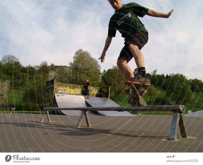 Sports Jump Park Air Skateboarding Kickflip