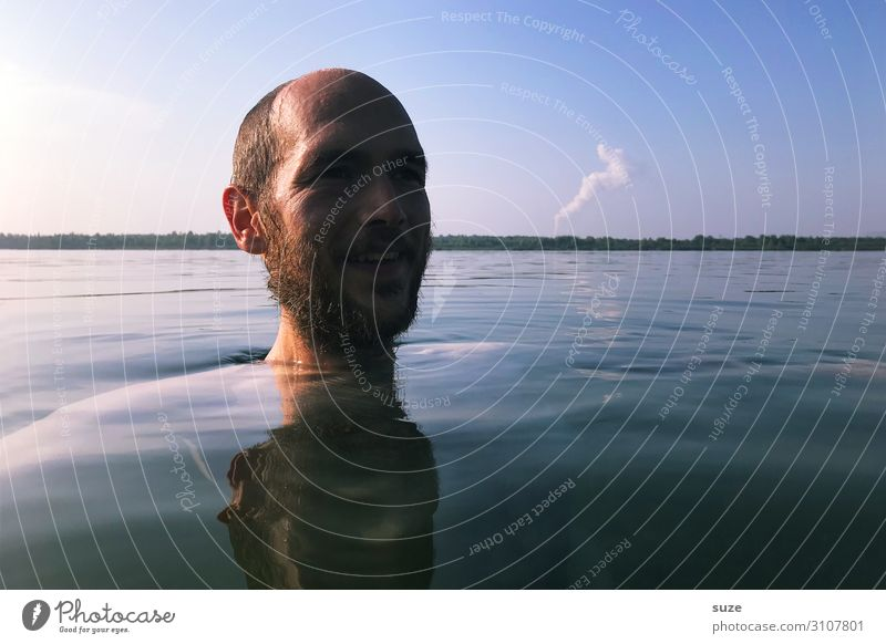 Human being Water Young man Healthy Adults Life Environment Cold Emotions Freedom Lake Head Swimming & Bathing Moody Horizon Dream
