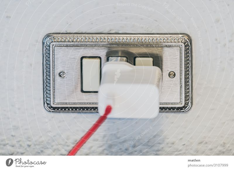connection Cellphone High-tech Telecommunications Internet Gray Red White Switch Connector Wall (building) Mobile communications Cable Load Colour photo