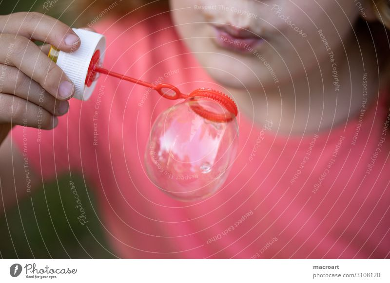 soap bubbles Girl Soap bubble Close-up Macro (Extreme close-up) Blow Child Toddler Playing Portrait photograph To swing Infancy Happy Discover Childlike