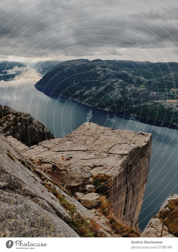 Preikestolen Norway nearly no people Environment Nature Landscape Water Sky Clouds Hill Rock Mountain Fjord Lake Think Relaxation Hiking Firm Large Infinity