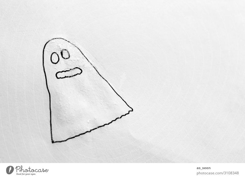 Huibuh! Draw Children's room Hallowe'en Illustration Autumn Ghosts & Spectres  Movement Flying Looking Authentic Simple Brash Funny Modern Positive Black White