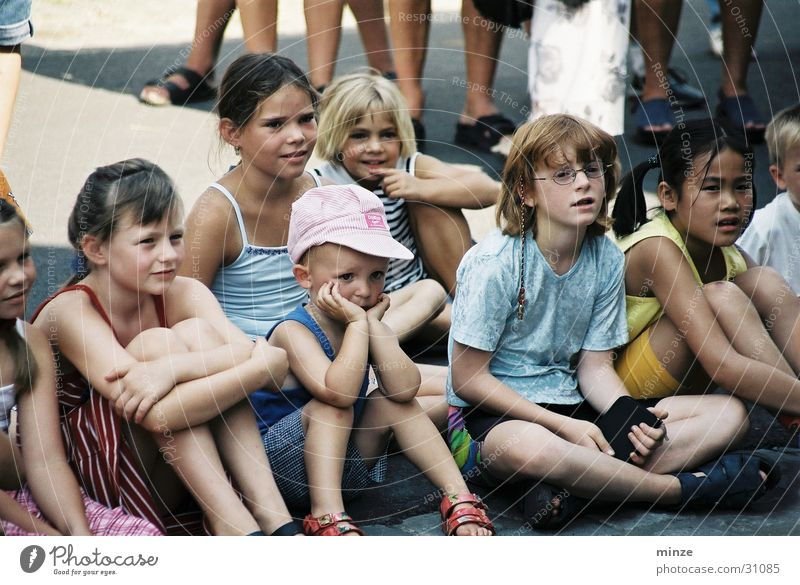 Child Group Group of children Audience Summer vacation Street party
