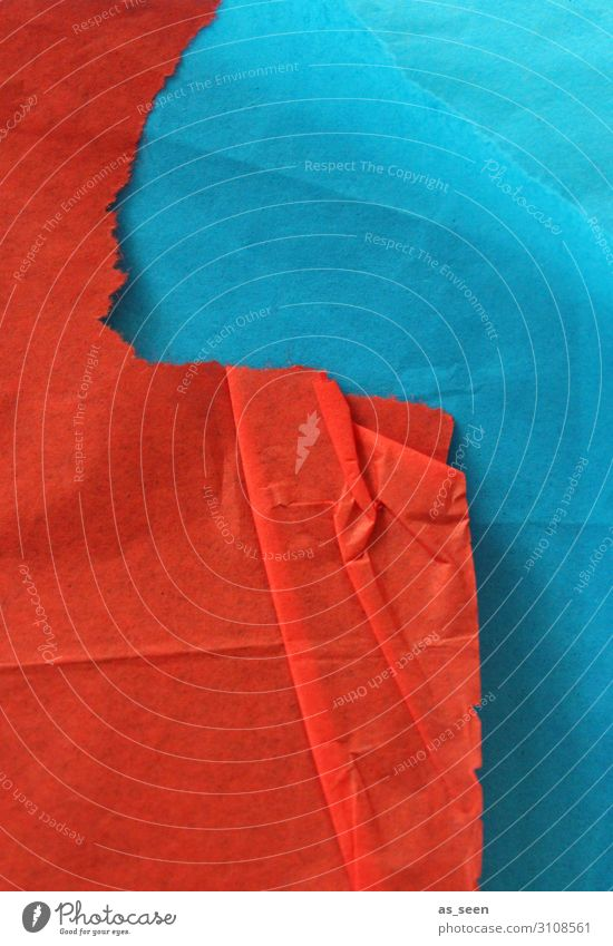 RED meets BLUE Harmonious Leisure and hobbies Handicraft Work of art Paper Piece of paper Touch Illuminate Lie Esthetic Authentic Sharp-edged Blue Orange Red