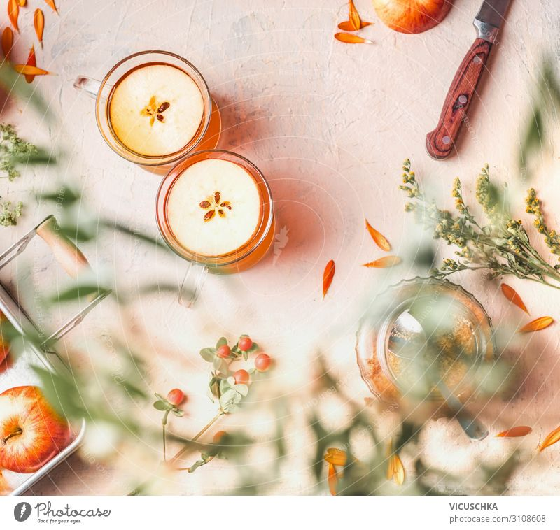 Apple tea in glass cups Food Fruit Nutrition Beverage Hot drink Tea Wine Design Healthy Eating Background picture cider Mulled wine Food photograph Autumn