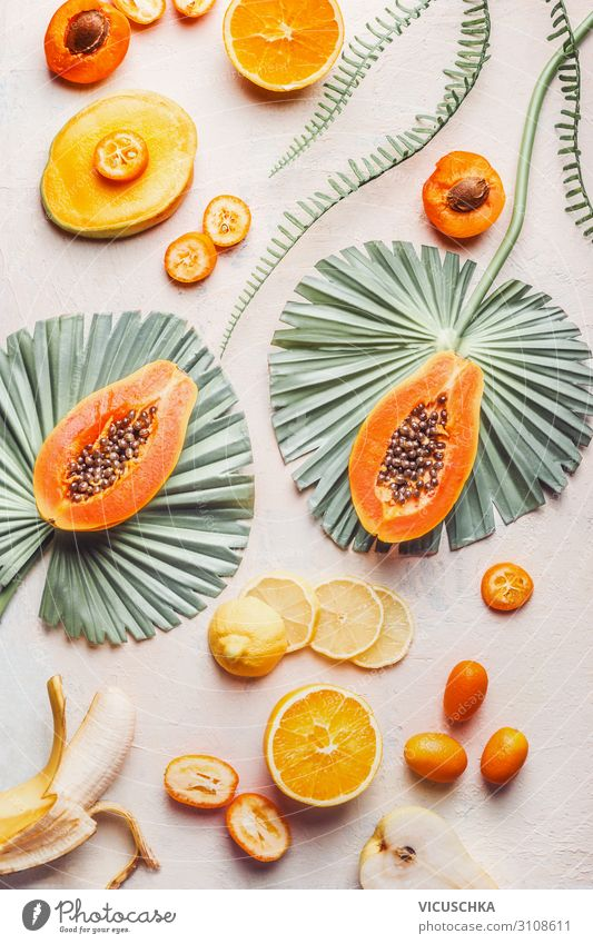 Exotic fruits with tropical leaves Food Fruit Nutrition Shopping Design Healthy Eating Hip & trendy Papaya Background picture Mango Banana Citrus fruits Orange