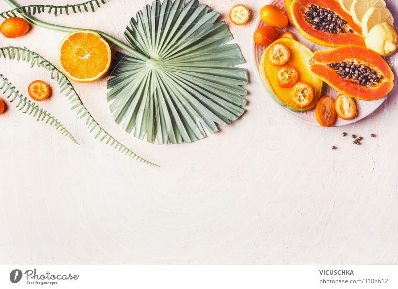 Exotic fruits background Food Fruit Nutrition Vegetarian diet Shopping Design Healthy Eating Hip & trendy Background picture Papaya Mango Citrus fruits Tropical