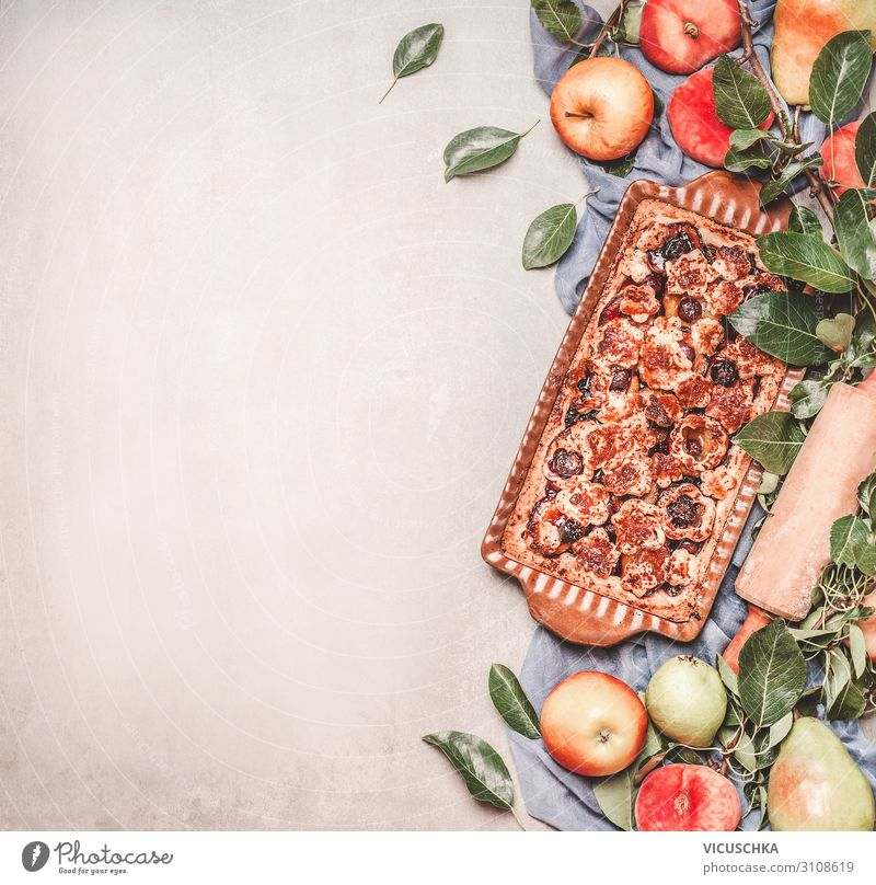 Fruitcake with organic ingredients Food Cake Nutrition Style Design Healthy Background picture Baking Rolling pin Apple Colour photo Studio shot Copy Space left